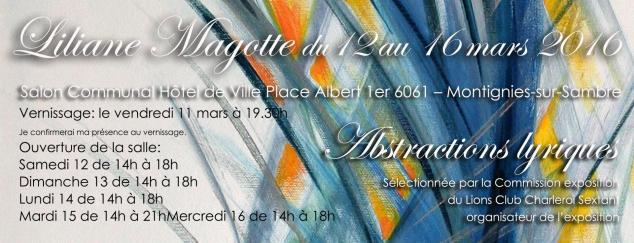 Invitation liliane magotte mars 2017
