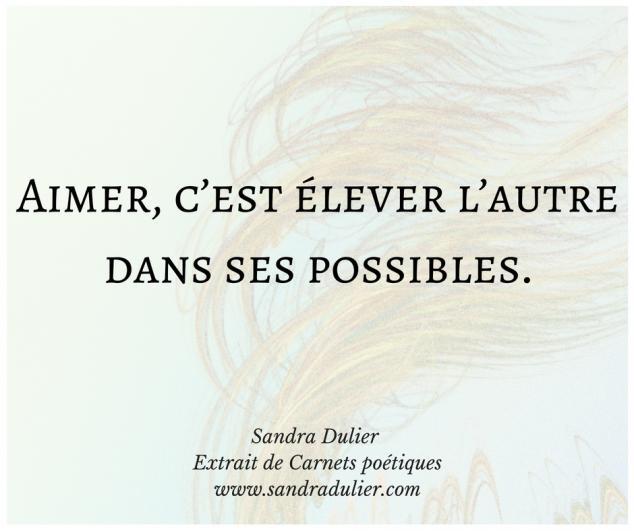 Aimer - poésie - extrait du livre Carnets poétiques de Sandra Dulier - bonheur - amour - citation.