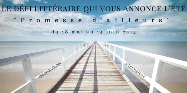 Promesse d'ailleurs Le défi littéraire #TsPoètes2 Plus d'infos : http://www.sandradulier.com/blog/tspoetes2.html