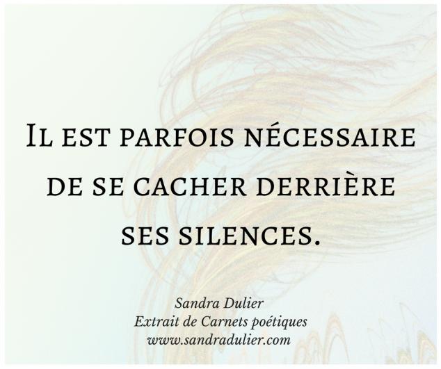 Se cacher - extrait de Carnets poétiques - Sandra Dulier - pensée positive - citation bonheur - lire le texte complet sur http://www.sandradulier.com/blog/la-poesie-de-la-semaine/carnets-poetiques-1.html