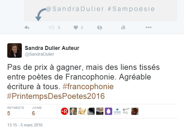 Ce tweet a été aimé par le profil du dictionnaire Le Robert. Rejoignez la team #Sampoésie chaque samedi pour un échange poésie dans toute le Francophonie.