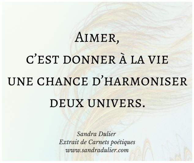 Aimer - extrait de Carnets poétiques de Sandra Dulier - amour - bonheur - vie - citation.