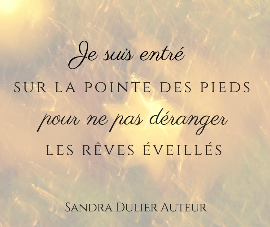 Je suis entré sur la pointe des pieds pour ne pas déranger les rêves éveillés. Citation de Sandra Dulier, version dorée.
