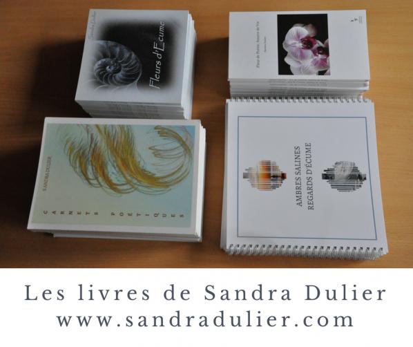 Livres de Sandra Dulier  Fleur de poésie source de vie, Ambres salines regards d'écume, Fleurs d'écume, Carnets poétiques.
