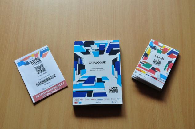 Badge auteur catalogue et plan livre paris 2017