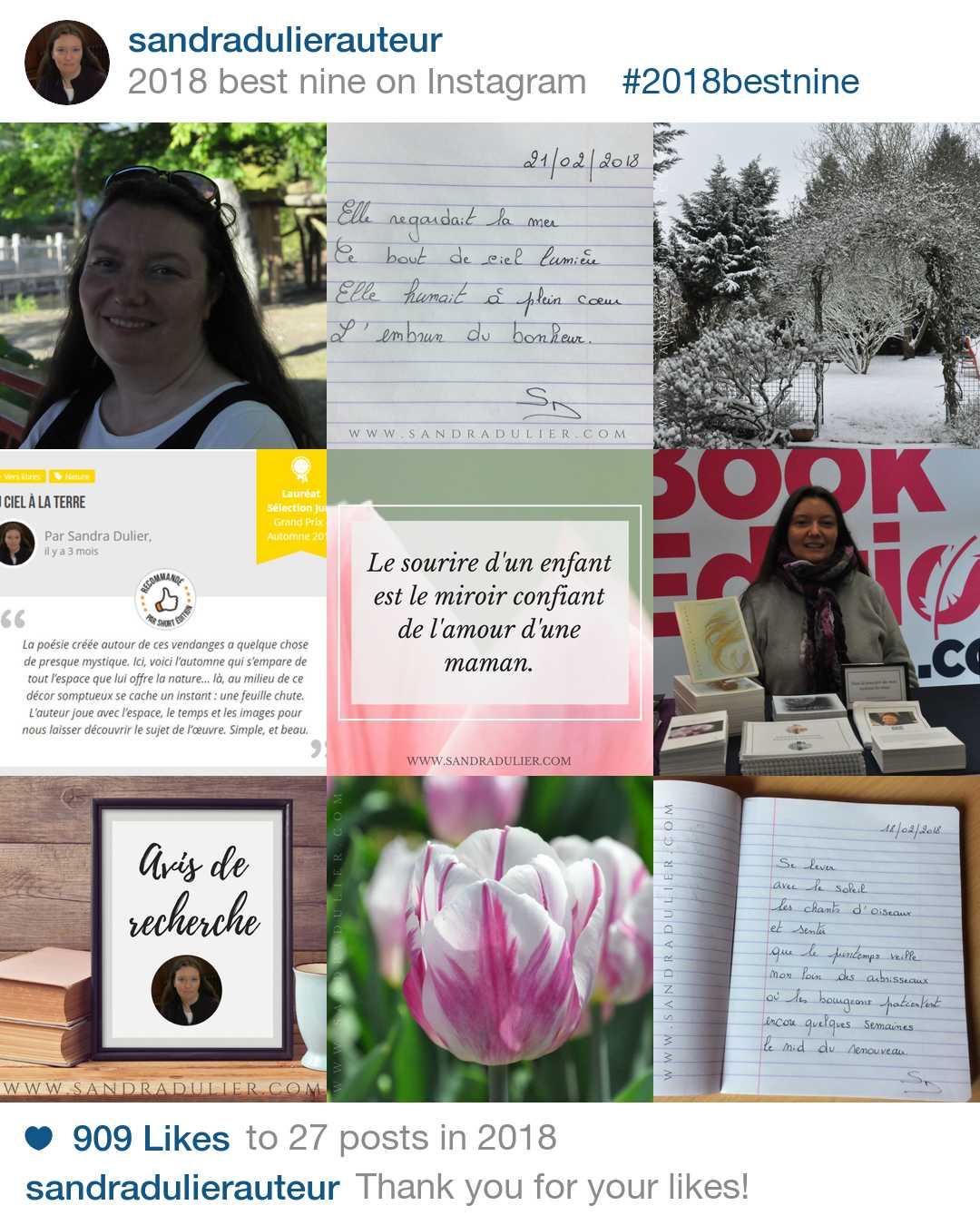 Bestnine 2018 Sandra Dulier sur Instagram. Les 9 photos les plus appréciées en 2018.