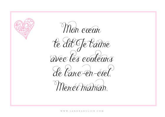 Poème fête des mères - Mon cœur te dit Je t'aime avec les couleurs de l'arc-en-ciel. Merci maman. Sandra Dulier - poésie - carte postale style élégant. Blanc et rose.