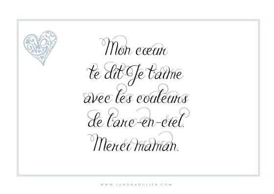 Poème fête des mères - Sandra Dulier - poésie - carte postale