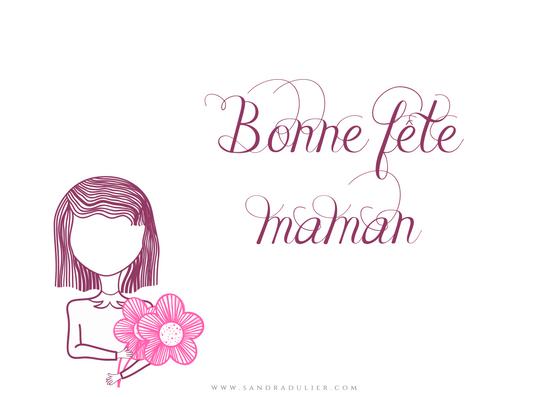 Carte postale fête des mères - bonne fête des mères - violet - rose