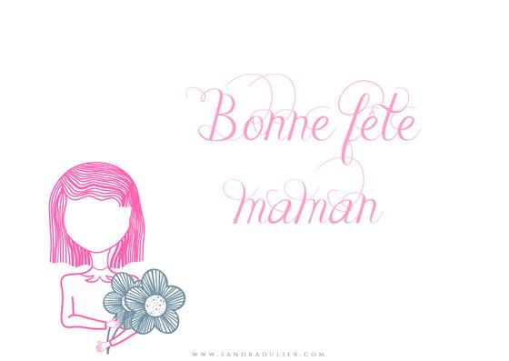 Carte postale fête des mères - bonne fête maman - rose - bleu