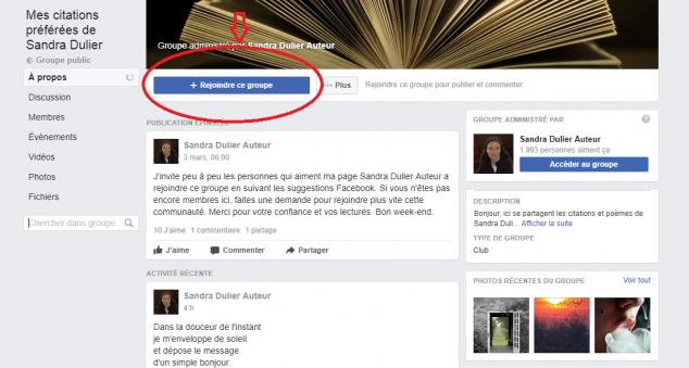 Comment rejoindre le groupe facebook Mes citations préférées de Sandra Dulier