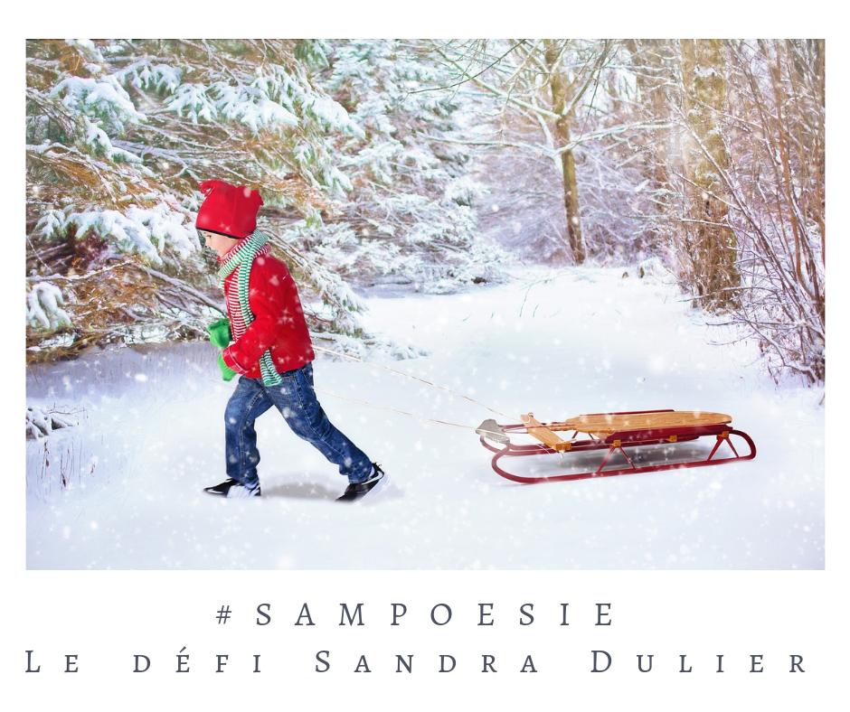 Que vous inspire cette photo ? A vos poèmes #Sampoésie. #enfant #luge #noël #neige #hiver # #décembre #écrire