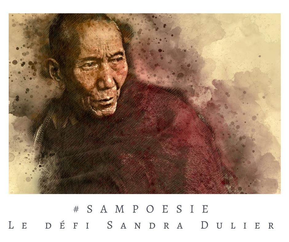 Que vous inspire cette photo ? A vos poèmes #Sampoésie. Portrait, zen, bouddhisme, moine, écrire, poésie.