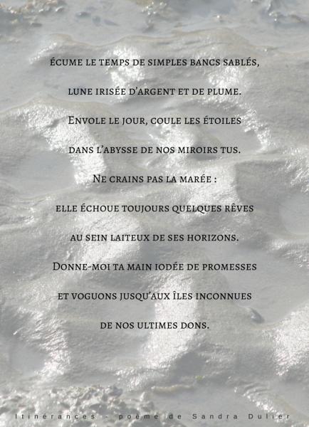 Poème Ittinerances de Sandra Dulier sur une photographie de Dominique Prime