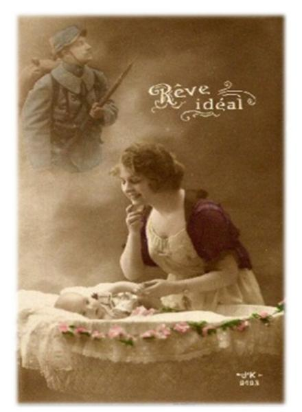 "Carte de poilu -  ""Rêve idéal"" - France - Guerre 14-18"