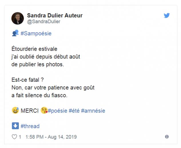 Tweet sandra dulier auteur 14 08 2019